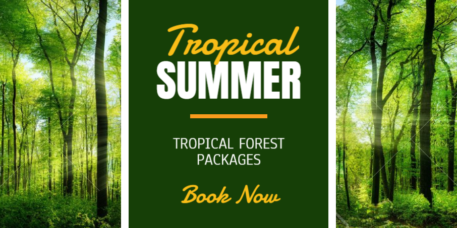 Green website banner made by Designmaker for tour packages.