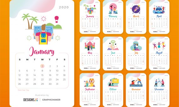 Designs.ai Graphicmaker Free Printable 2020 Calendar