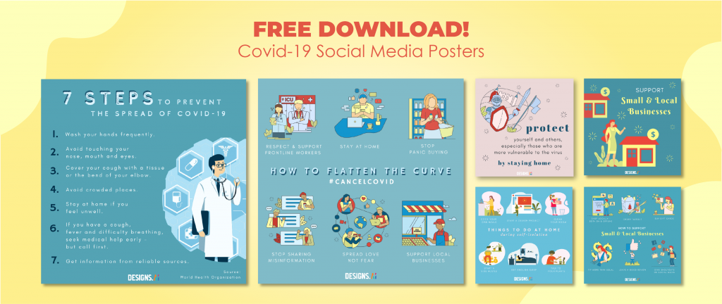 Designs.ai Free COVID-19 Support Social Media Posters and Infographics by Graphicmaker