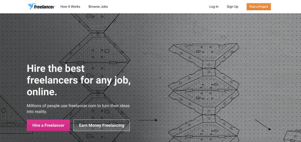 Freelancer.com Homepage. (Source: Freelancer.com)