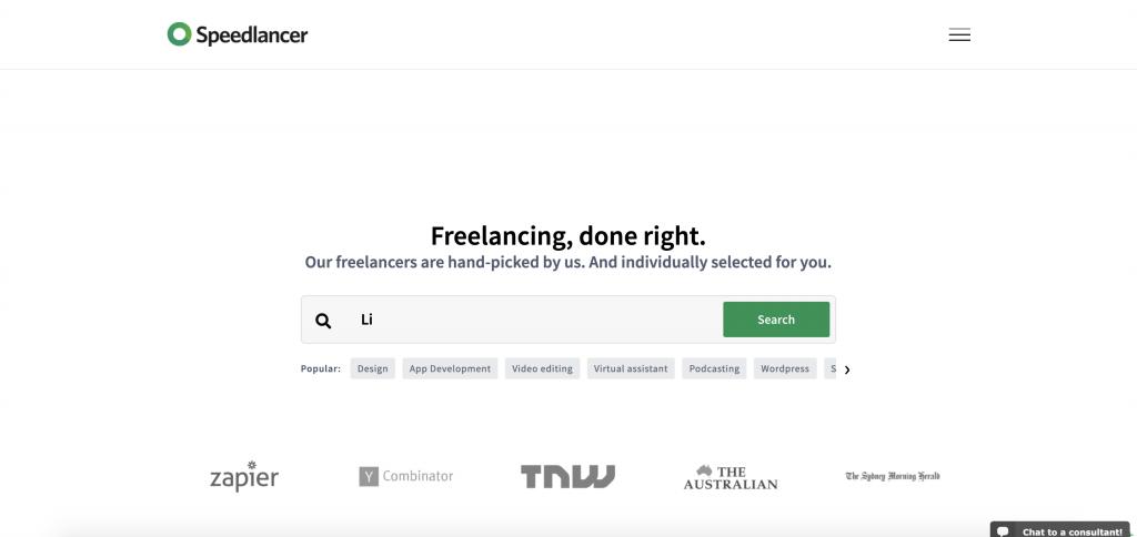 Speedlancer Homepage. (Source: Speedlancer.com)