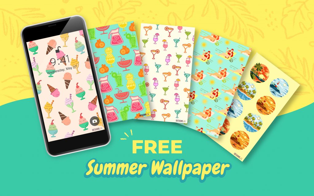 Designs.ai | Freebie Alert | Free Summer Themed Smartphone Wallpapers