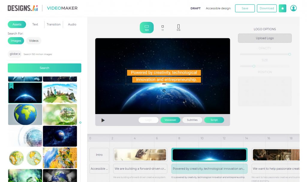 Designs.ai Videomaker Editor Screenshot