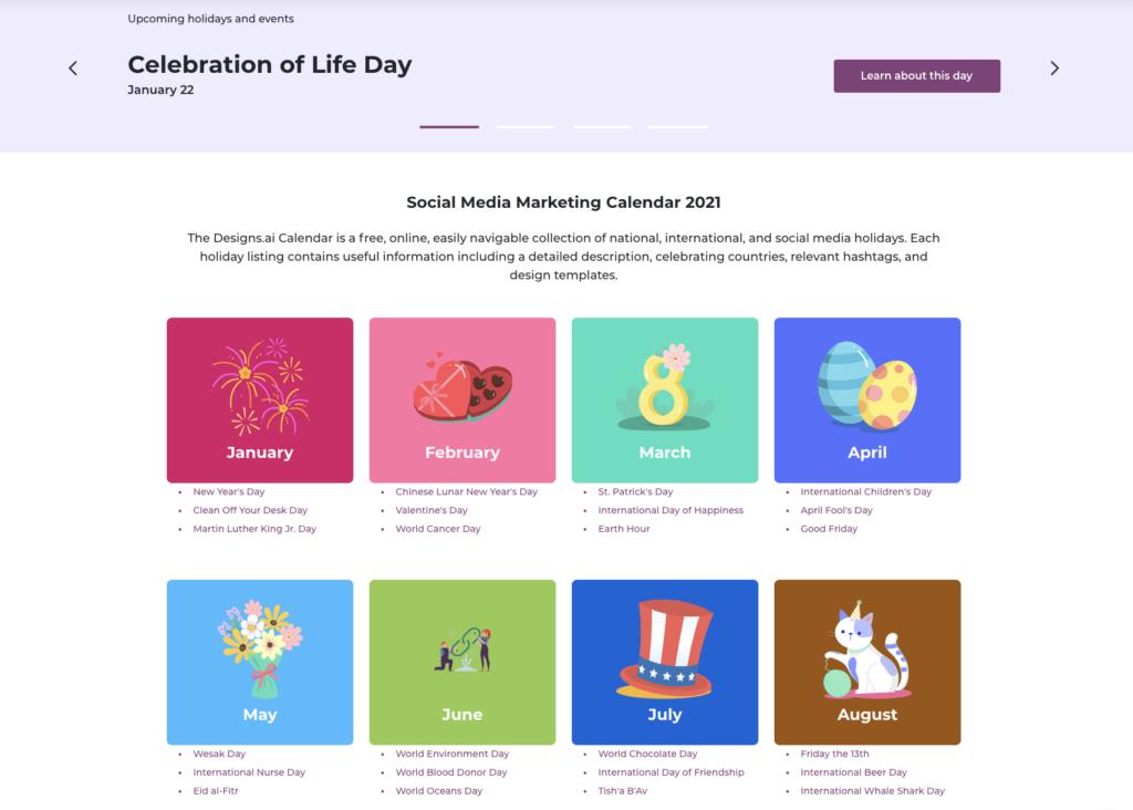 Designs.ai Social Media Calendar