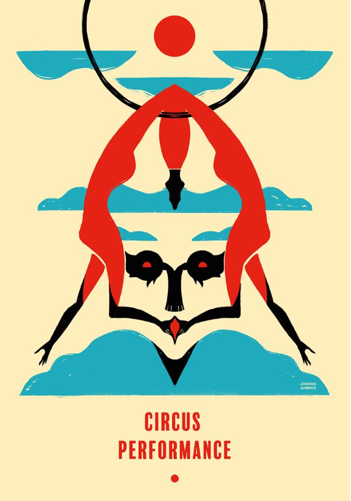 Circus Performance Poster design using optical illusion.