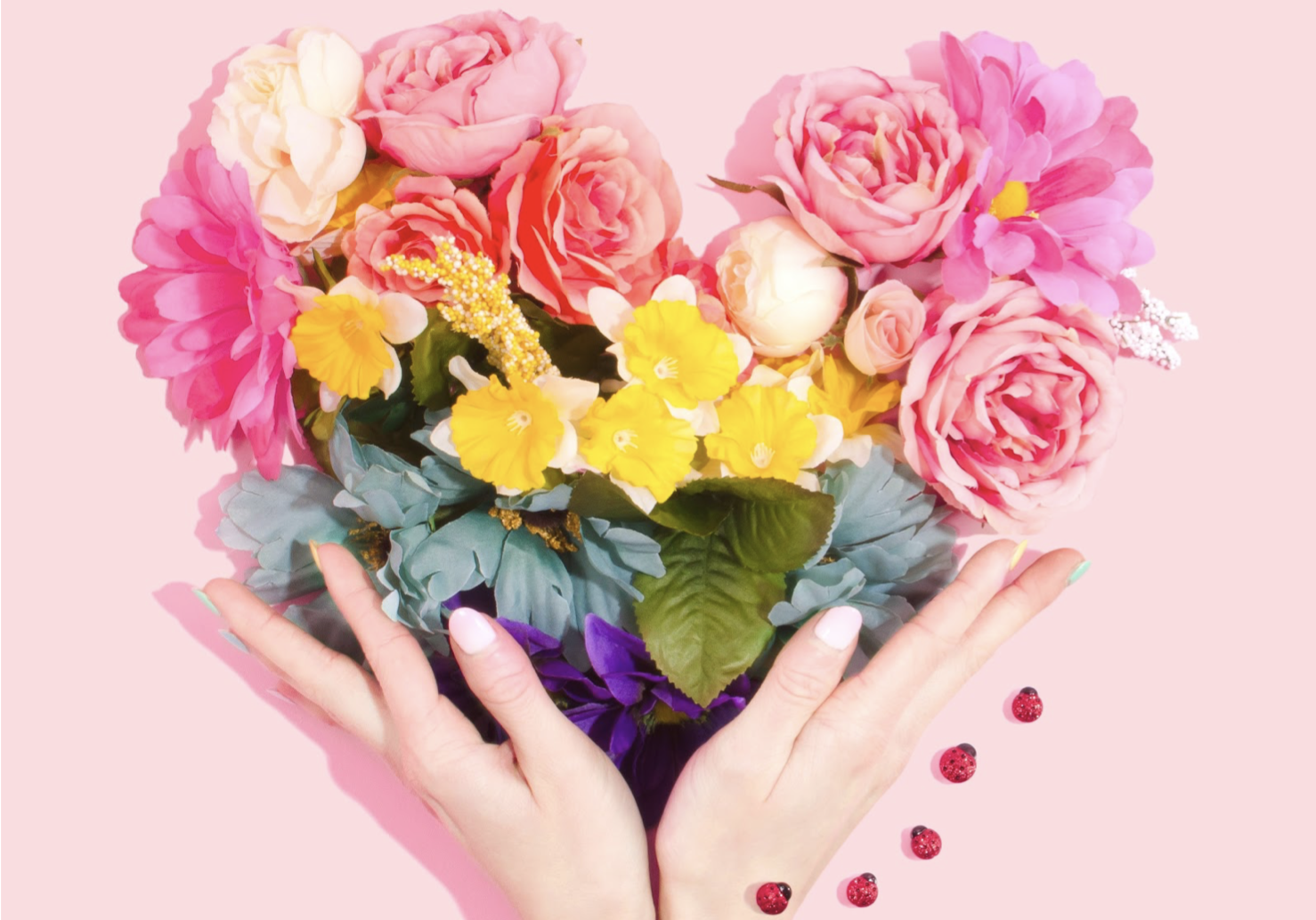 Colorful flowers as romantic Valentine's day gift.