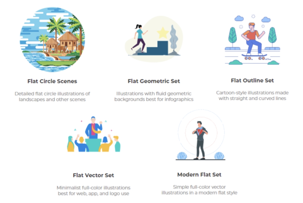 Design trends of different flat illustrations from Designs.ai's Graphicmaker.