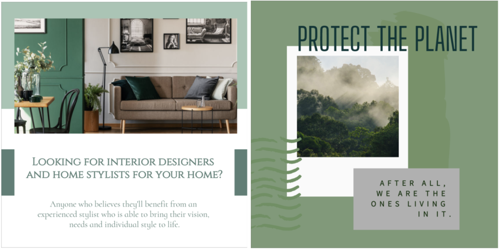 Nature-inspired template designs using muted green.