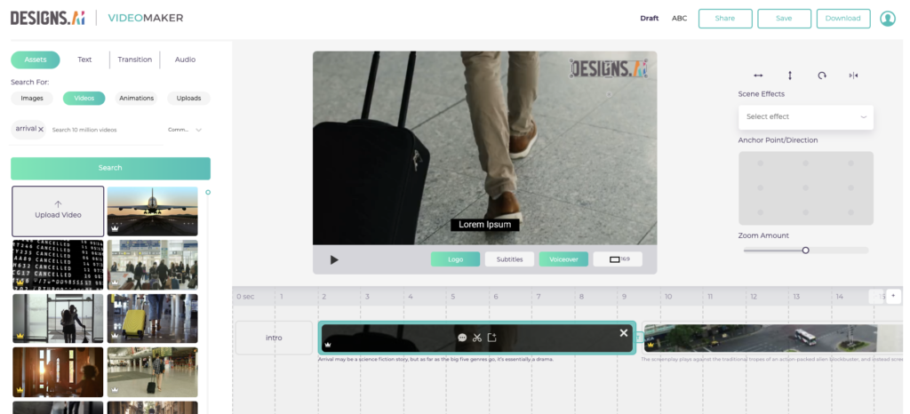 Designs.ai Videomaker helps incorporate your logo into videos effortlessly.