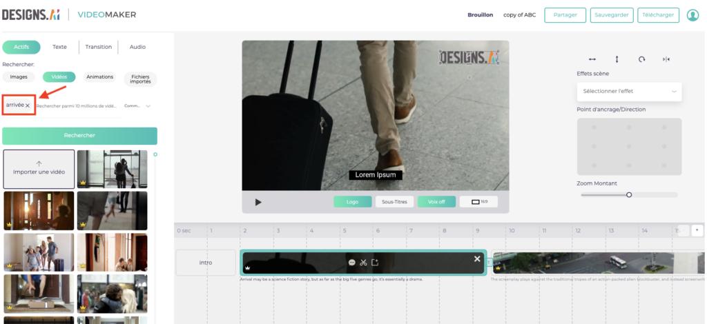 Designs.ai Videomaker - Saisissez simplement vos mots clés et choisissez les éléments que vous aimez.