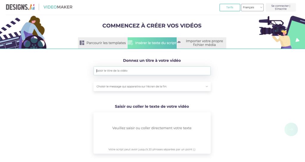 Designs.ai Videomaker - Insérez votre script.