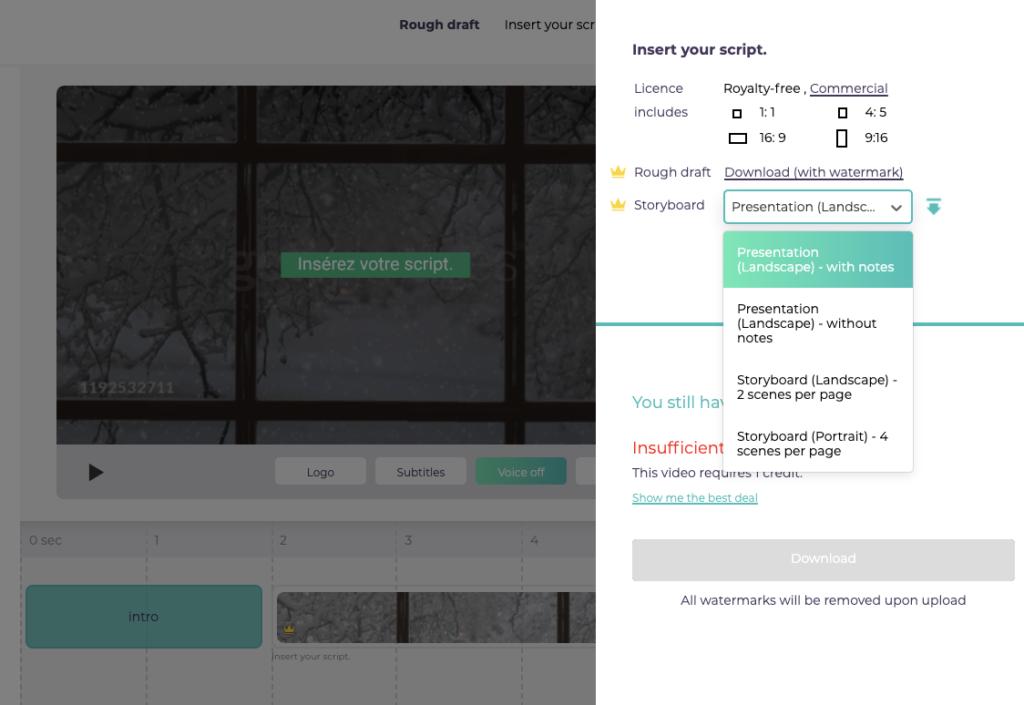 Designs.ai Videomaker - Les différentes options disponibles pour le téléchargement du storyboard.
