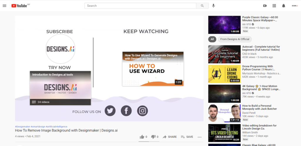 Designs.ai | Must knows to build a quality YouTube channel for your business - Example of YouTube video end screen