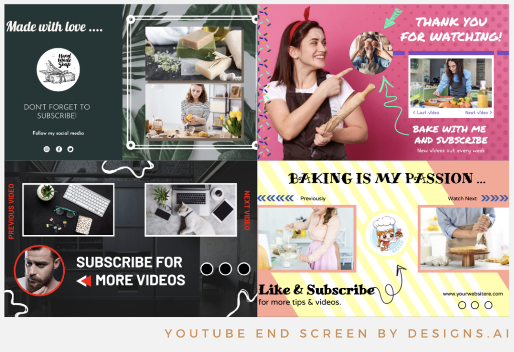 Designs.ai | Must knows to build a quality YouTube channel for your business - Stunning YouTube end screen templates available in Designs.ai